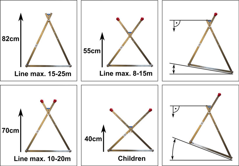 slackline frame height and angle adjustment