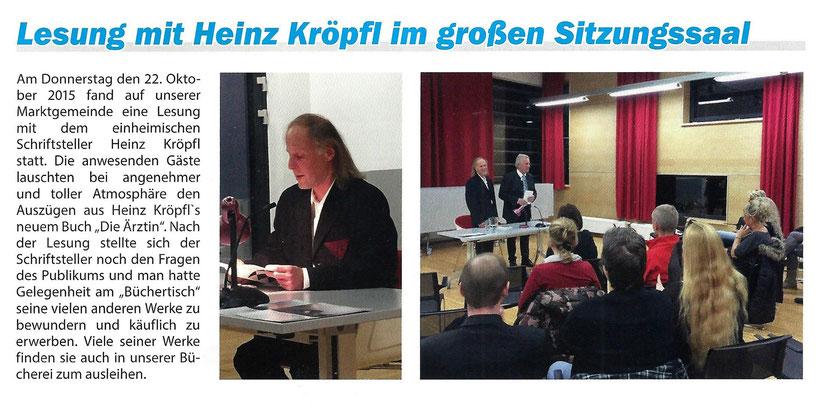 Bericht Lesung Buchpräsentation Heinz Kröpfl Die Ärztin Gemeindezeitung St. Michael