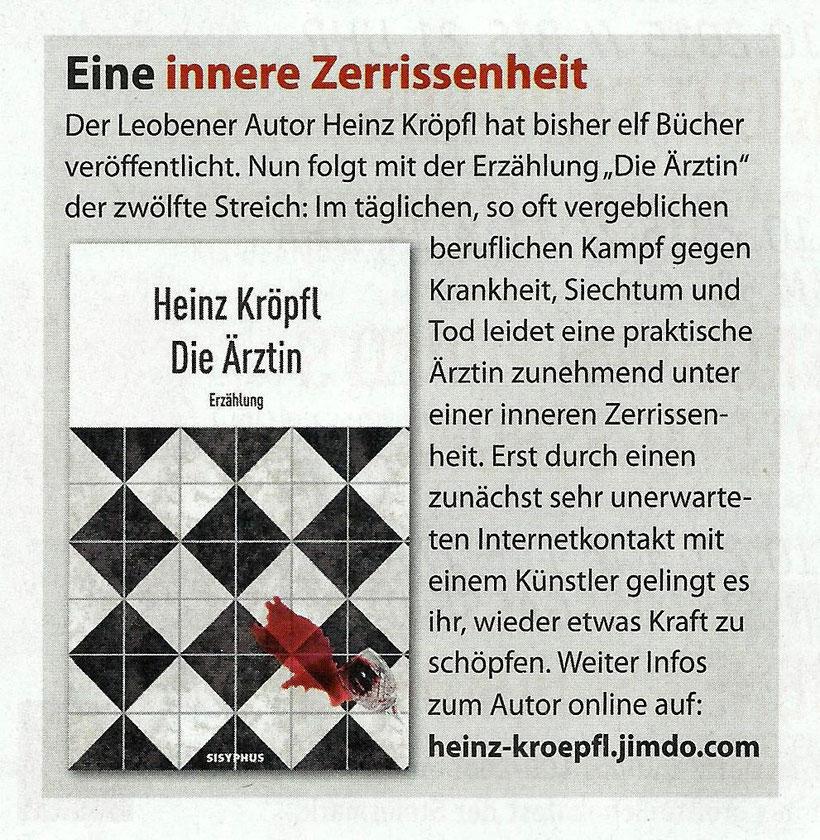 Buchvorstellung Heinz Kröpfl Die Ärztin Weekend Magazin Steiermark