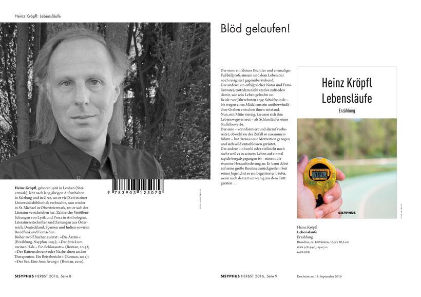 Heinz Kröpfl Lebensläufe Sisyphus Verlagsprogramm Herbst 2016