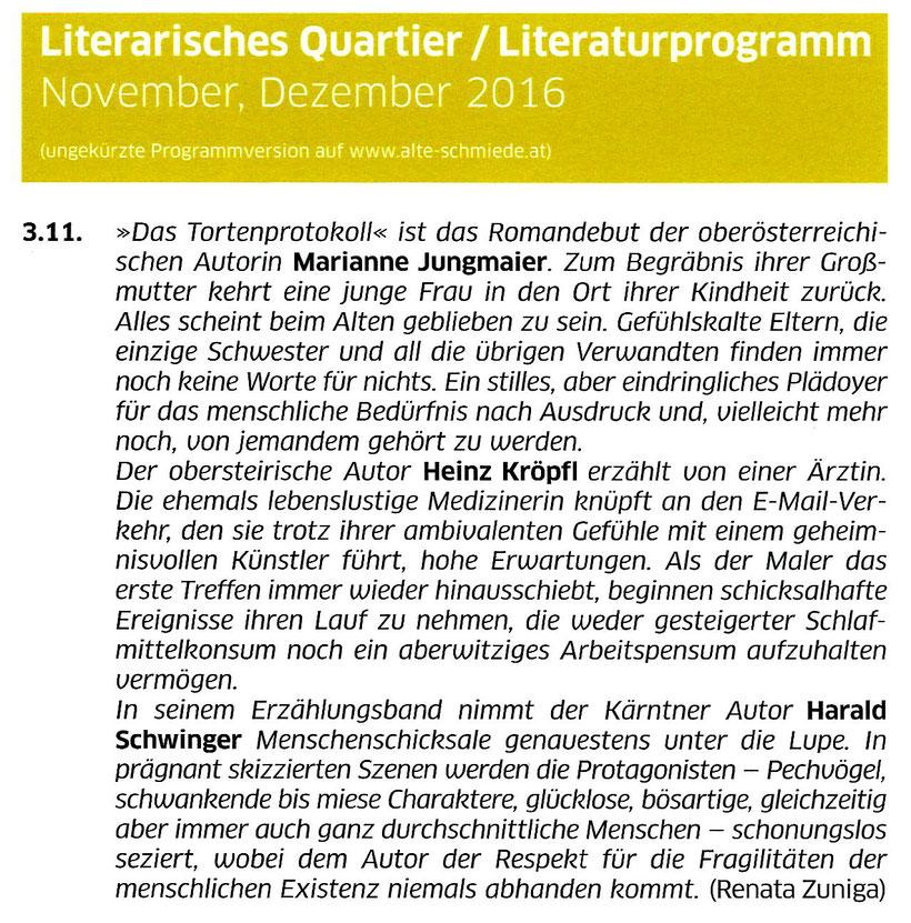 Alte Schmiede, Literarisches Quartier, Wien, Literaturprogramm November, Dezember 2016, Renata Zuniga