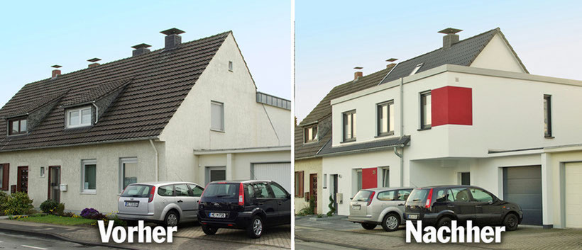 An-Aufbau an ein Zweifamilienhaus zur Erweiterung des Wohnraumes