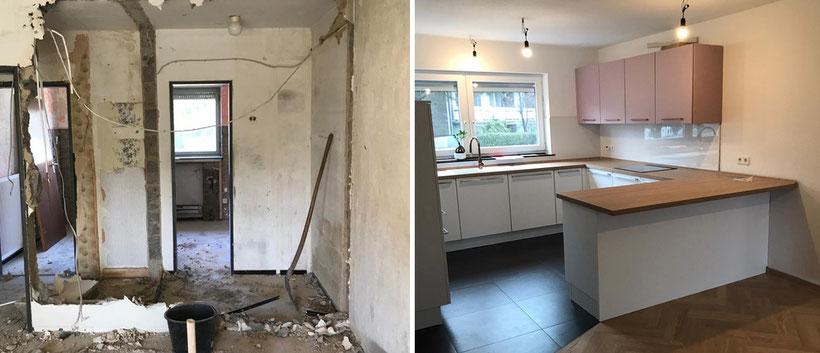 Komplette Renovierung EFH in Neuss Ansicht vor der Entkernung und Eßzimmer/Küche nach dem Umbau