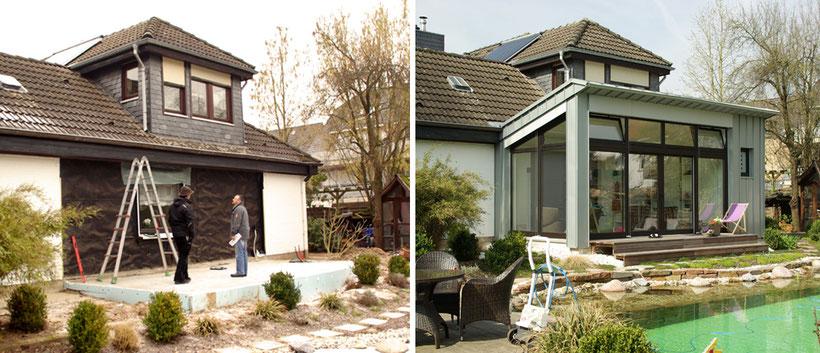 Anbau an ein Einfamilienhaus als Wintergarten und neuer Zugang zum Garten
