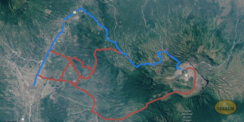 Route Bromo und zurück