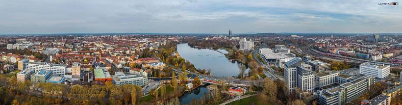 Luftaufnahmen Drohnenaufnahmen Nürnberg Wöhrder See