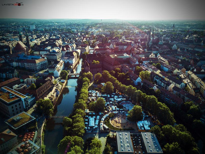 Luftbilder Drohnenbilder Nürnberg Altstadt Stadtstrand Insel Schütt