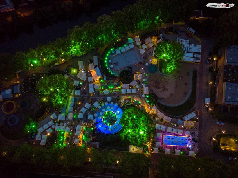 Luftbilder Drohnenbilder Nürnberg Stadtstrand Insel Schütt bei Nacht