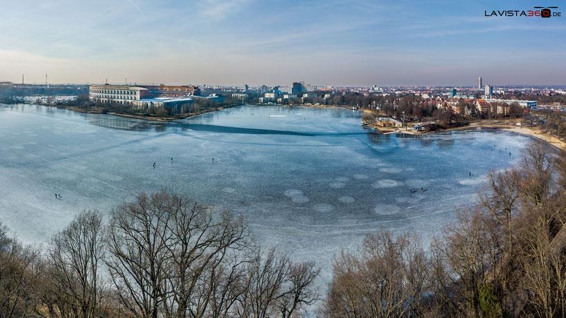 Luftbild Drohne Dutzendteich Winter Nürnberg