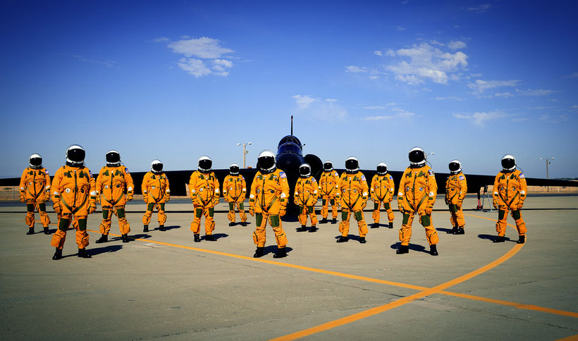 Piloti di U-2 con la caratteristica Suite di volo adatta per la stratosfera / © USAF