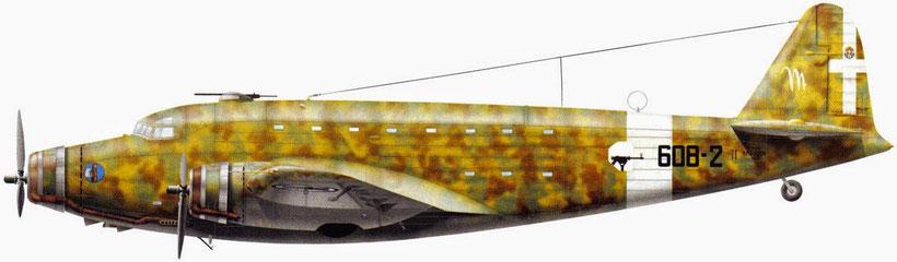 SM 82 che partecipò al Raid. Dopo fu consegnato al 149 Gruppo T. e vennero disegnate le insegne bianche.