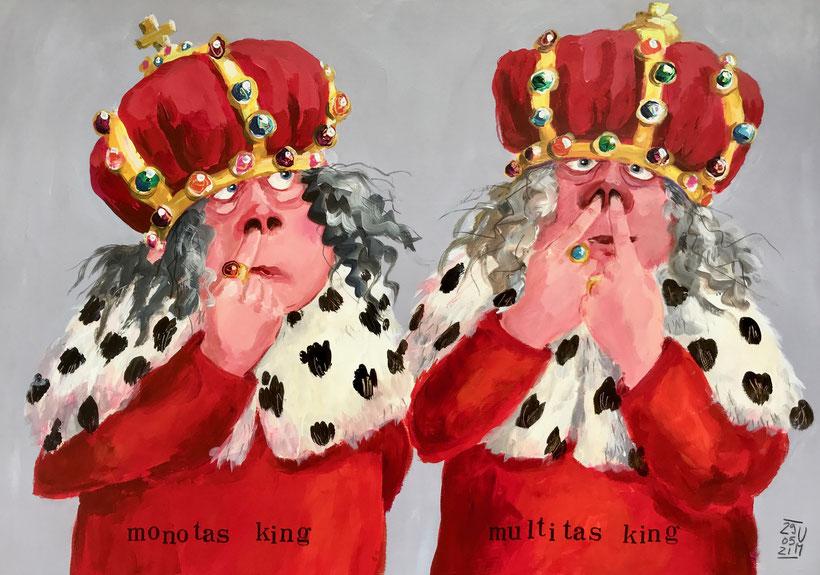 Monotas King und Multitas King. Acryl und Buntstift auf Karton, 62 x 43 cm, 2021.