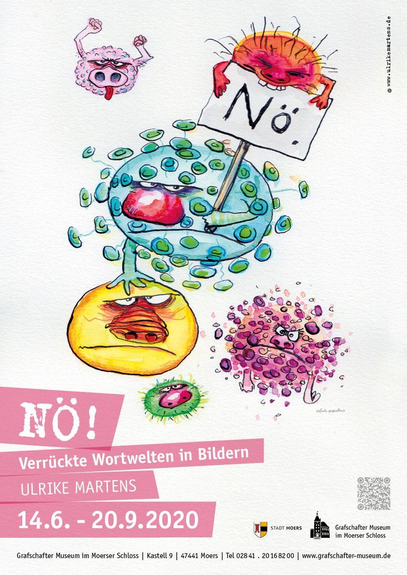 """Plakat für die Ausstellung """"NÖ! Verrückte Wortwelten in Bildern."""" von Ulrike Martens"""