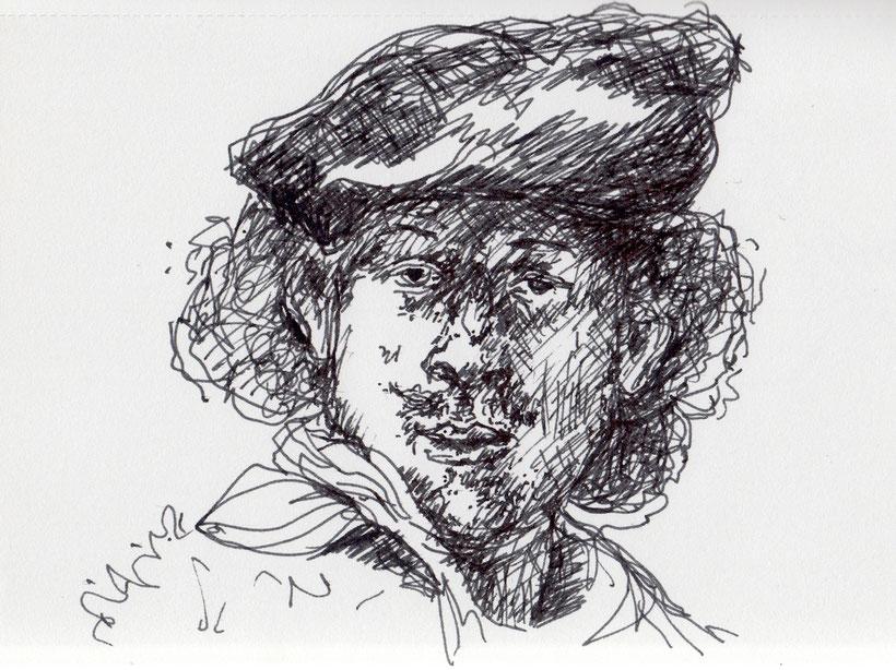 Selbstportrait Rembrandt. Skizze (Füller) nach einer Lithographie von A. Krüger von Ulrike Martens gezeichnet.