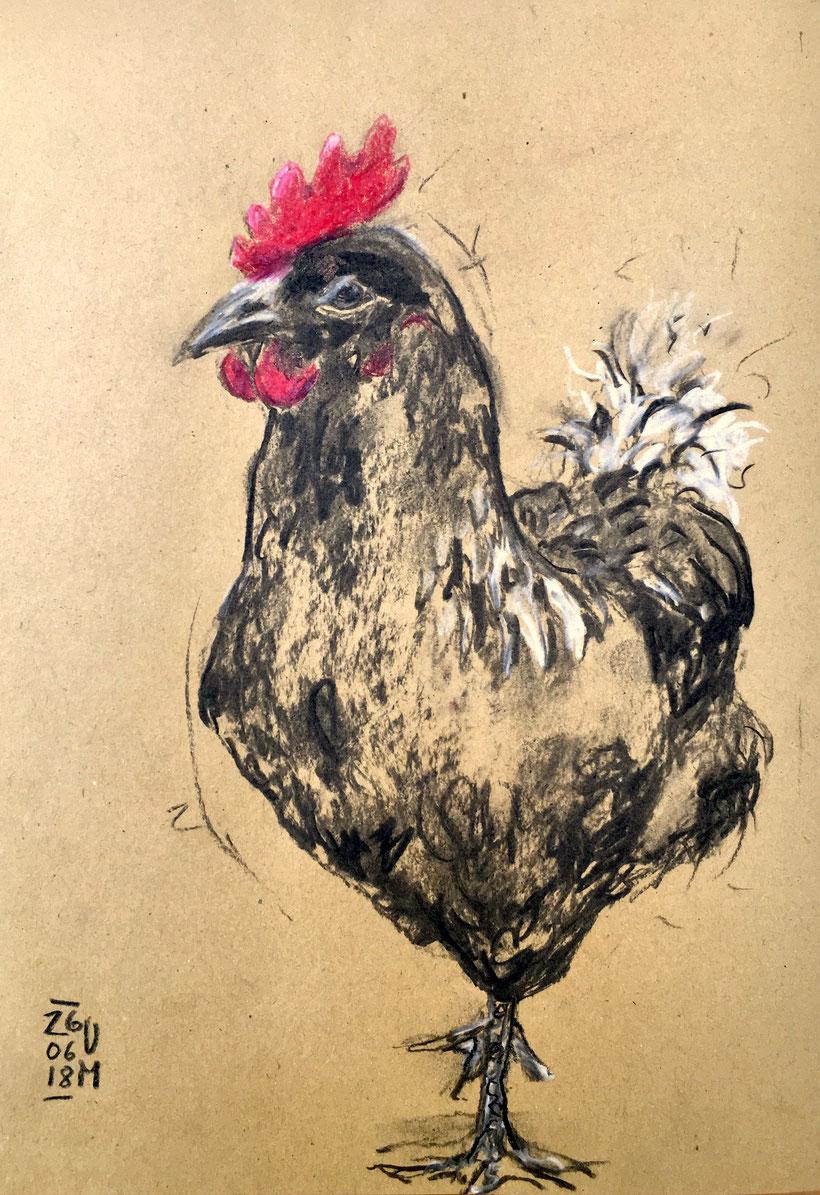 Der frühe Vogel, Kohle und Buntstift auf Packpapier, DIN A 4, 2018, Ulrike Martens.