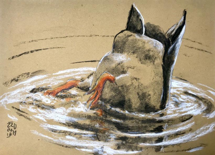 Tauchende Ente. Kohle, Kreide und Buntstifte auf Packpapier, DIN A 4, 2018.