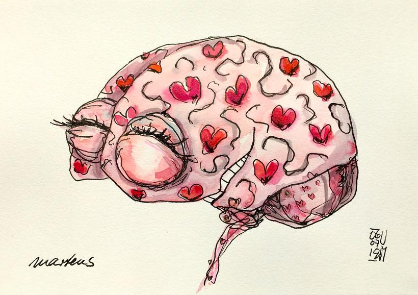 Zeichnung von einem Gehirn nach dem Kuss. Tusche, Buntstift und Aquarell auf Aquarellpapier, 6.7.2018, Ulrike Martens.