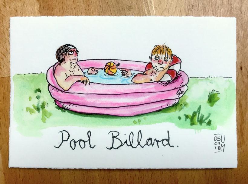 Pool-Billard. Zwei Personen sitzen in einem Swimmingpool und spielen mit einem Ball. Tusche, Buntstift und Aquarell auf Aquarellpapier, Postkartenformat (A6), 5.7.2018, Ulrike Martens.