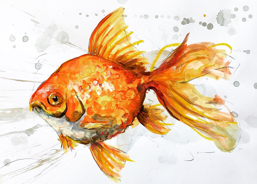 Goldfisch. Acryl, Graphit und Ölkreide auf Aquarellkarton, 29 x 21 cm, 2019.