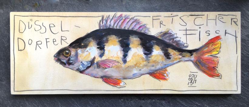 Flussbarsch.  Acryl, Ölkreide und Graphit auf Holz, 25 x 75 cm, 2019.