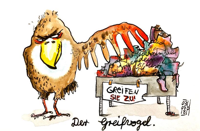 Der Greifvogel. Tusche, Buntstifte und Aquarellfarbe auf Aquarellpapier, DIN A 6,03.07.2018, Ulrike Martens.