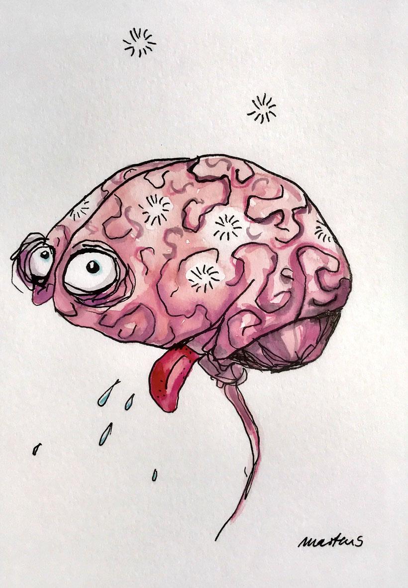 Ein gezeichnetes Gehirn mit heraushängender Zunge.