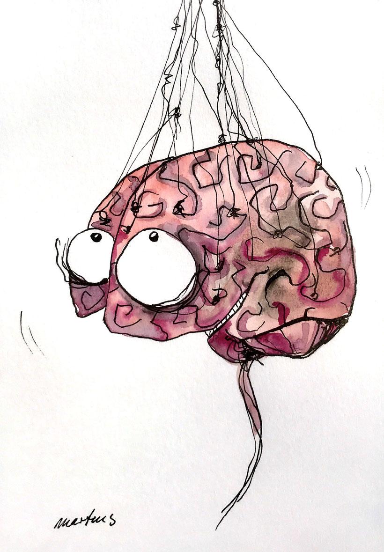 Gezeichnetes Gehirn, welches lächelt. Aquarell und Tusche auf Aquarellpapier, A 5, 10.7.2018, Ulrike Martens.