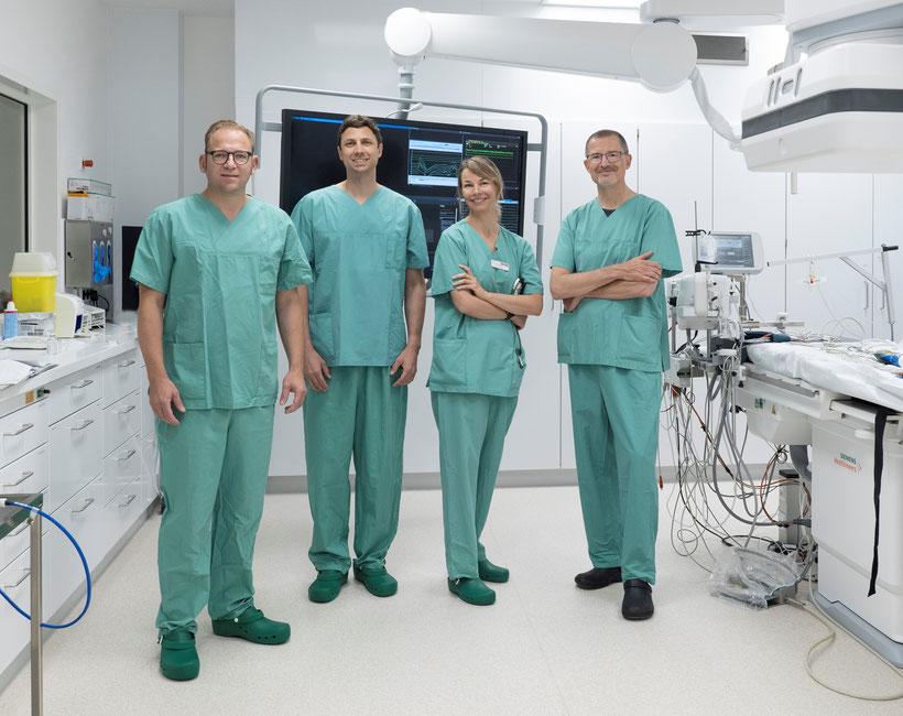 Freuen sich auf die Zusammenarbeit in Bad Kreuznach: Prof. Dr. Thomas Rostock (Direktor Kardiologie an der Unimedizin Mainz), Dr. Raphael Spittler (Oberarzt Elektrophysiologie), Dr. Tanja Brenzel (Oberärztin am Diakonie Krankenhaus) und Dr. Mathias Elsner