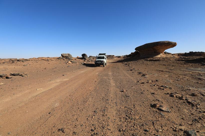Hier der recht abgefahrene UFO-Felsen. Irgendein Idiot (Rallye, Veranstallter,...) hat hier überall Rote Pfeile auf die Felsen gesprüht