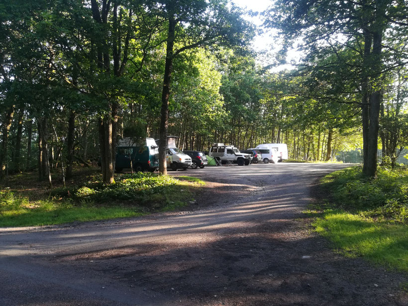 Unser Schlafplatz im Wald ca. 25 km vor Göteborg