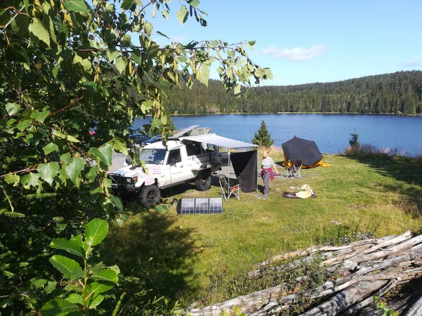 Unser Camp 50 km vor Oslo
