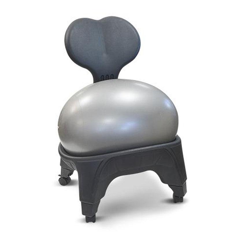 Ein grauer Sitzball integriert in einem dafür angefertigten grauen Stuhlgestell - freigestellt vor weißem Hintergrund