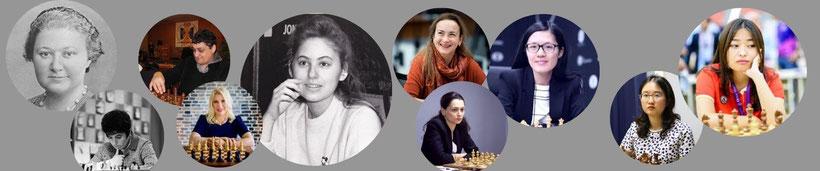 Die besten Schachspielerinnen aller Zeiten: Menchik, Gaprindaschwili, Tschiburdanidse,Polgar, Stefanowa, Kosteniuk, Hou Yifan, Zhongyi, Wenjun