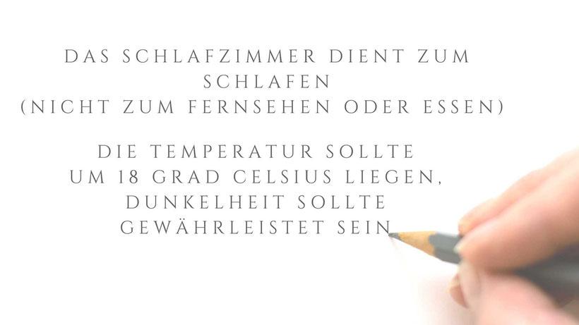Schlafhygiene Regel Temperatur Handgeschrieben