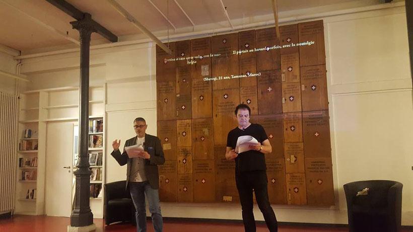 "Lecture avec Fabiano Alborghetti de ""L'opposta riva/La rive opposée"" à Bibliomedia #Lausanne – Poésie et exil, 16 mars 2018"