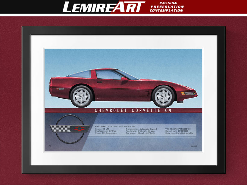1995 Corvette drawing, 1996 Corvette drawing