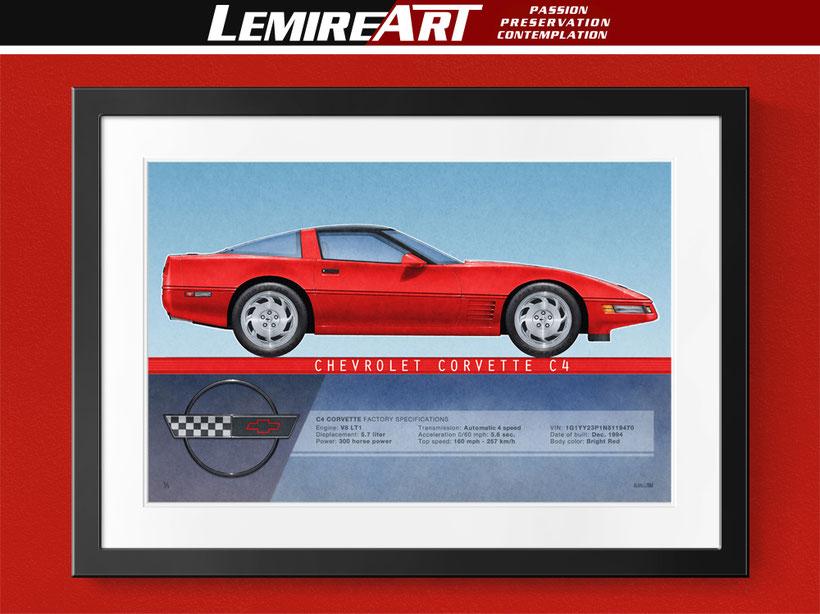 1991 Corvette coupe drawing, 1992 Corvette coupe drawing, 1993 Corvette coupe drawing, 1994 Corvette coupe drawing