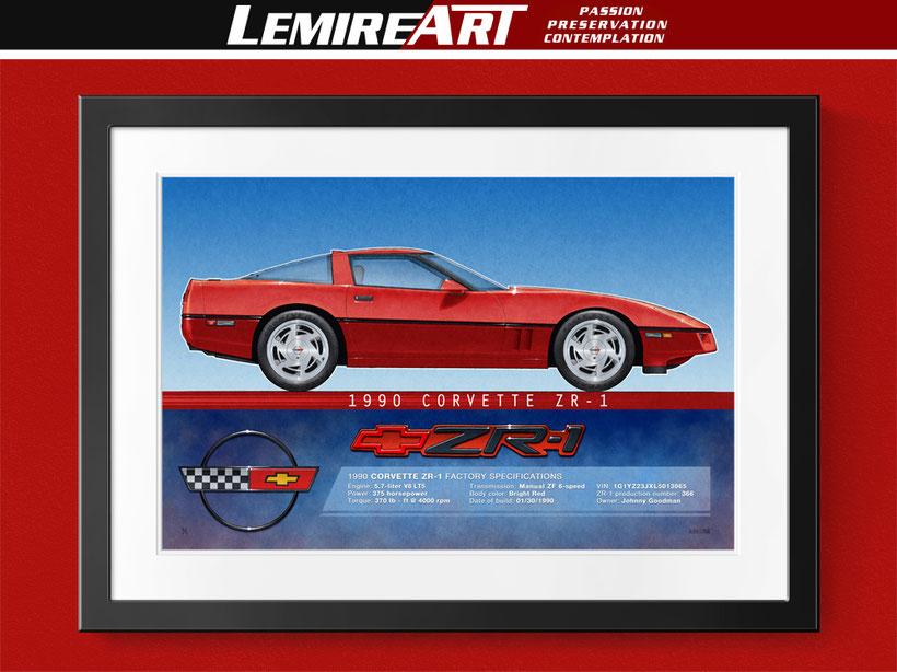 Dessin Corvette ZR-1 1990