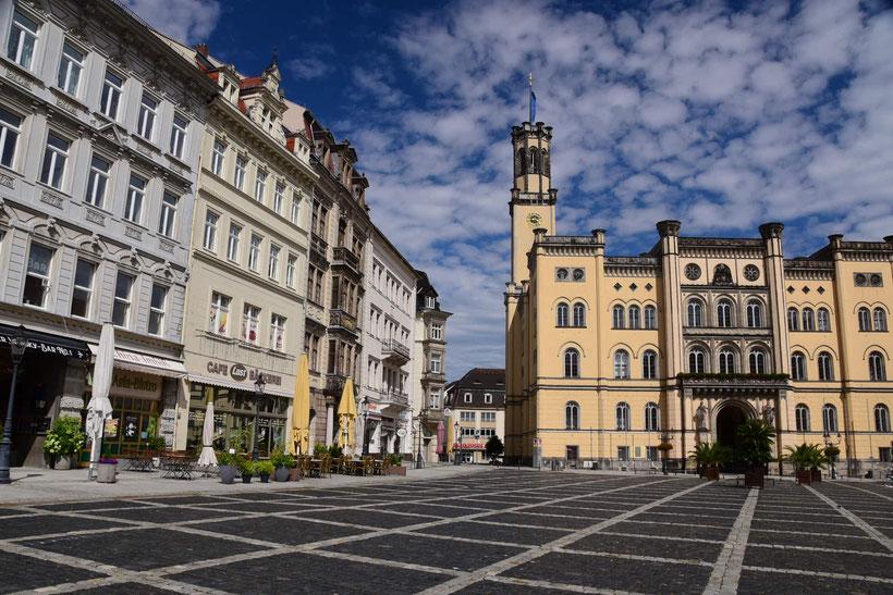 Die gepflegte Innenstadt von Zittau - aber anscheinend ist niemand zu Hause