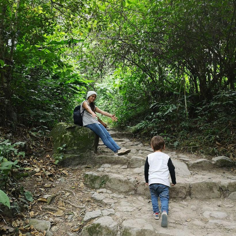 Wanderung Macchu Picchu Kleinkind Kind Aufstieg