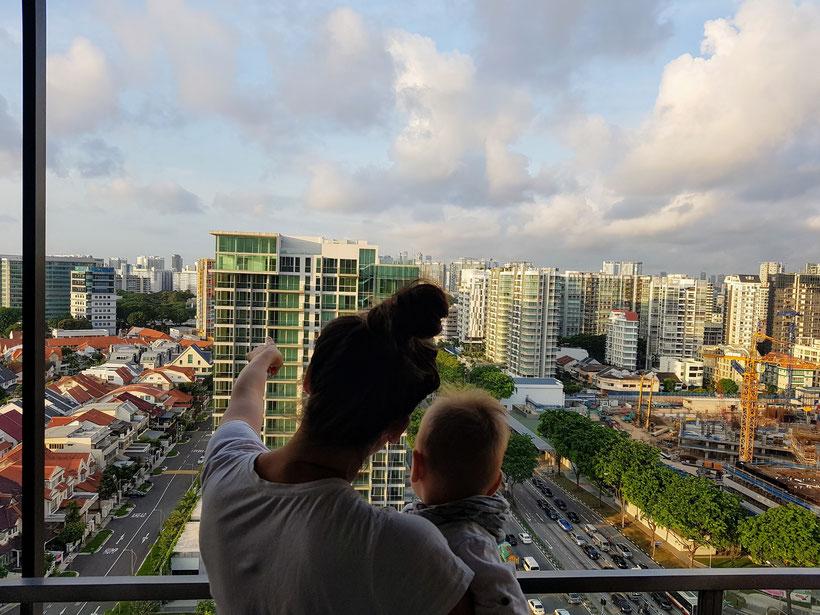 Singapur mit Baby - Aussicht vom Balkon