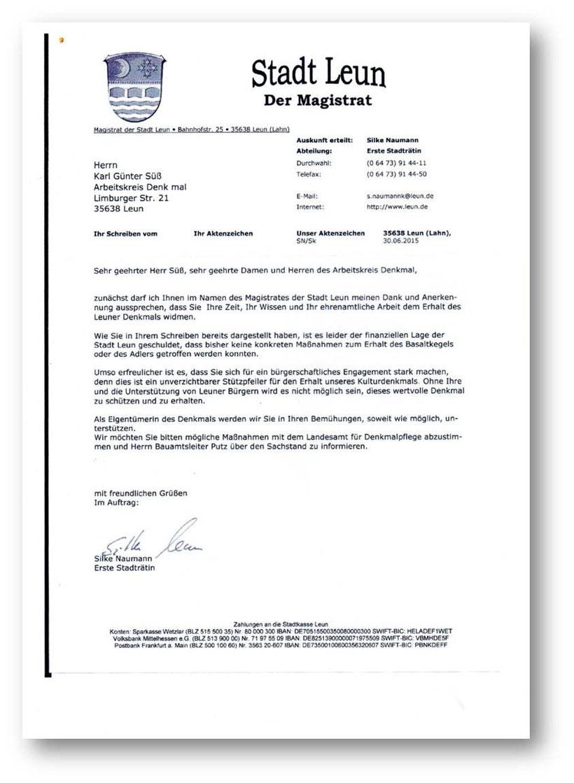 Brief des Magistrats der Stadt Leun