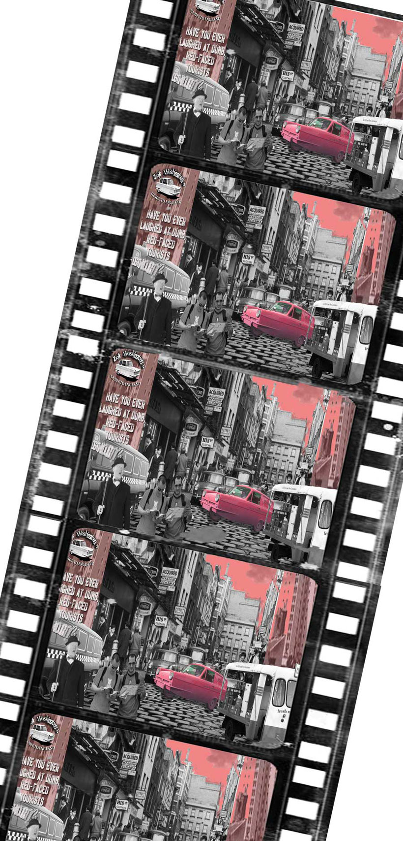 Graphic to learn British culture and English language: montage of Carnaby Street, London. ( ZakWashington online English language course )