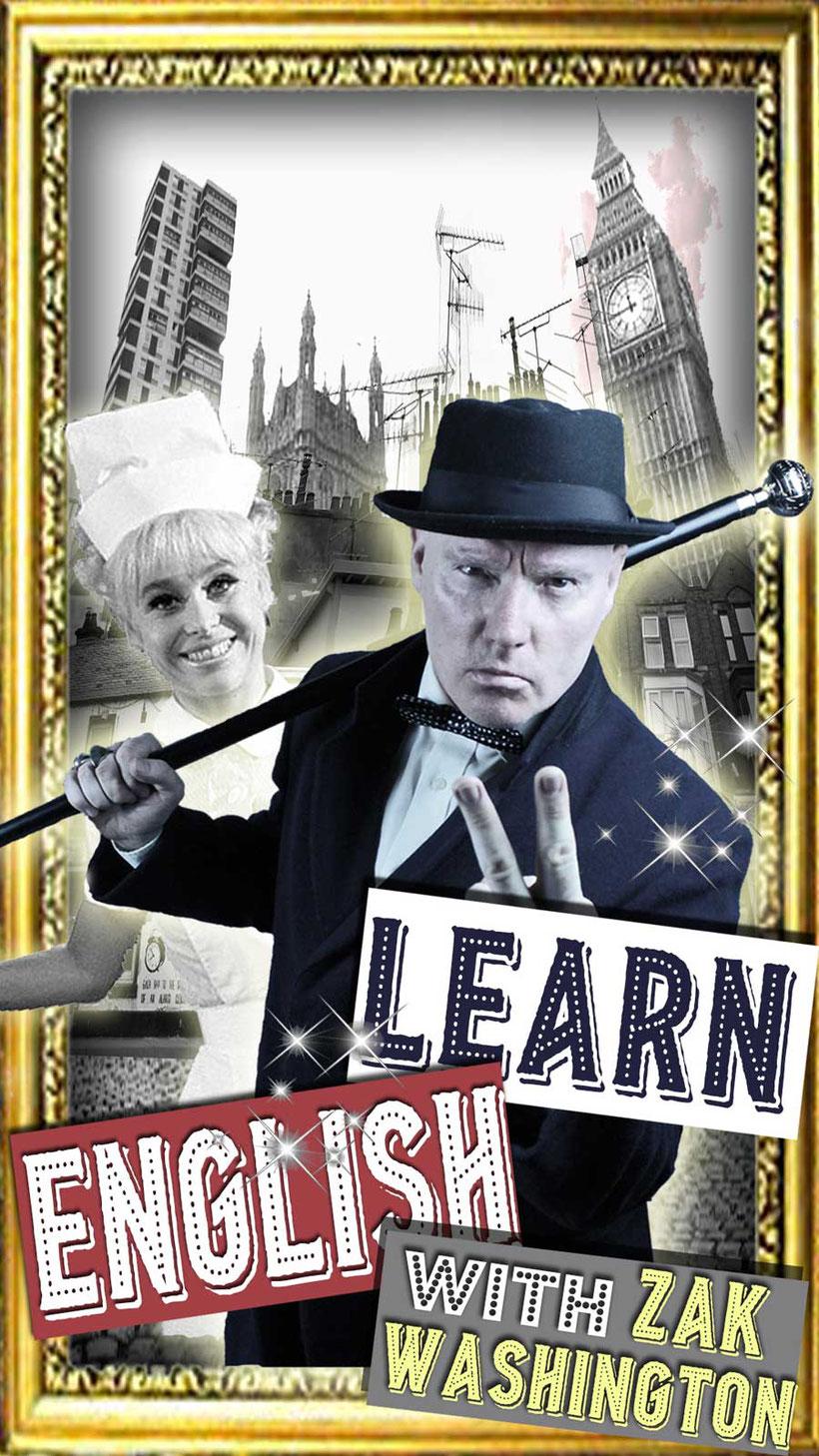 Learn English with Zak Washington London skyline graphic with Barbara Windsor. By Language Unlimited