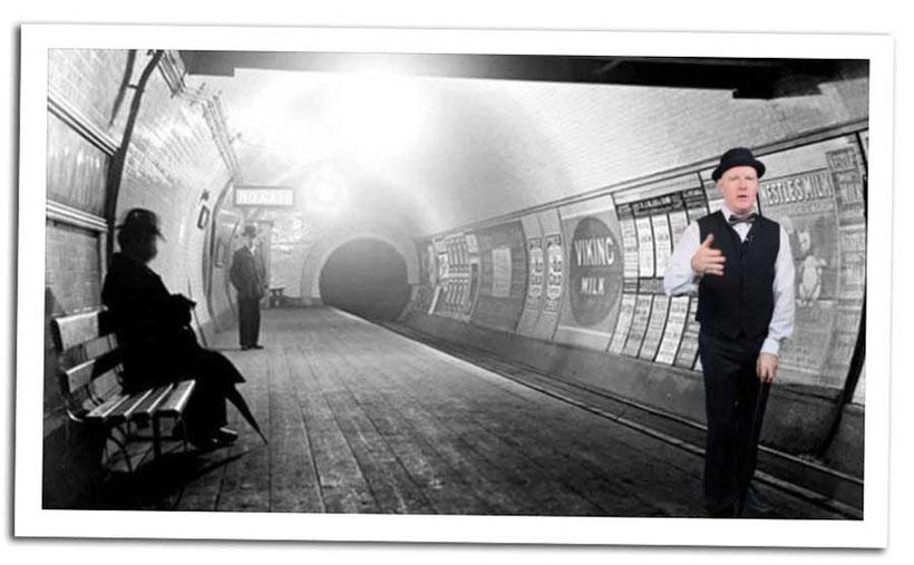 ZakWashington in a vintage black and white London underground tube station