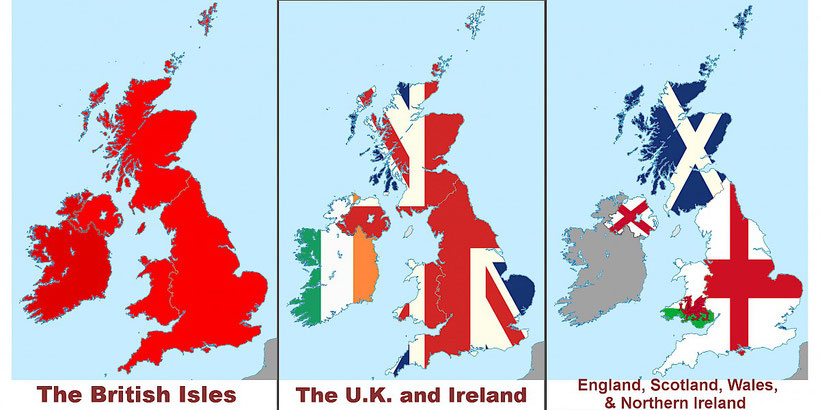 Illustration with three maps of the United Kingdom including England, Ireland, Scotland and Wales