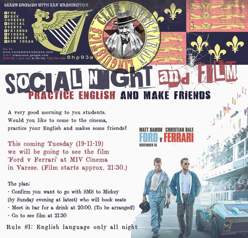 Libertarian Linguistics Club English language social night flyer