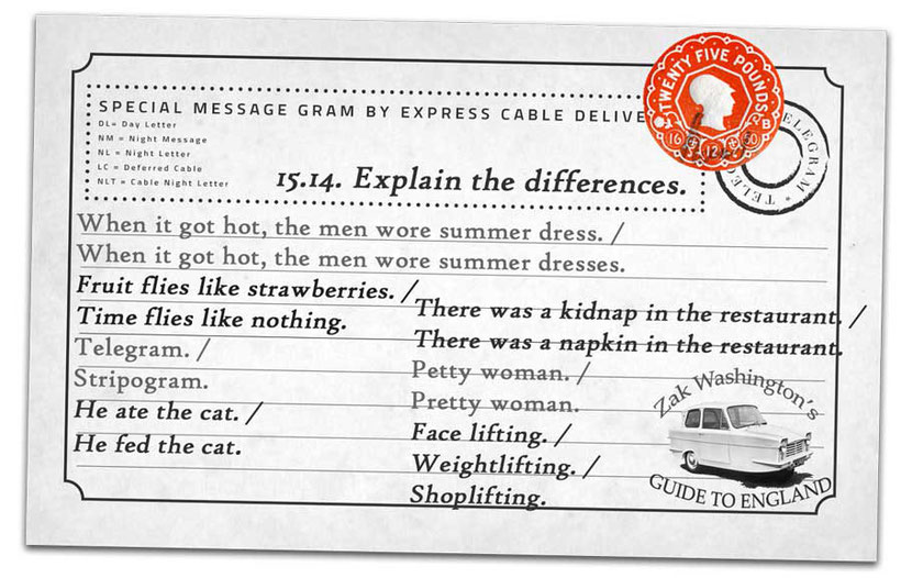 Graphic with English language TEFL speaking exercise for students: Explain the difference between these words