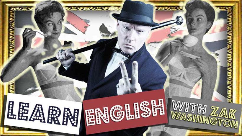 Learn English logo with vintage girls drinking English tea