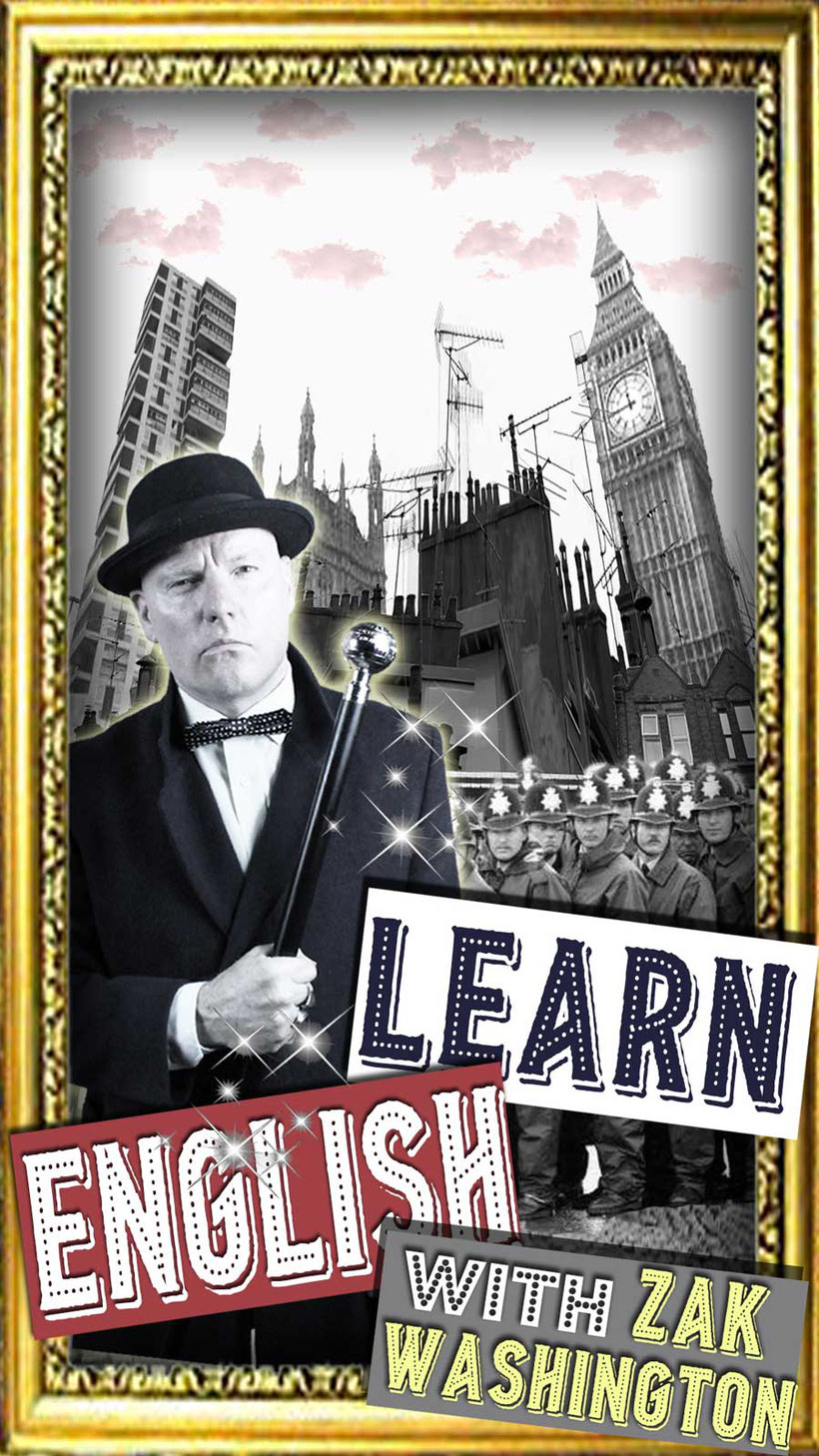 Learn English with Zak Washington graphic with London backdrop - by Language Unlimited
